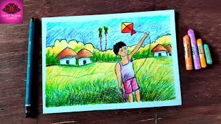 How to draw kite flying by village boy