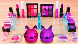 Pink vs Purple - Mixing Makeup Eyeshadow Into Slime Special Series #95 Satisfying Slime Video!