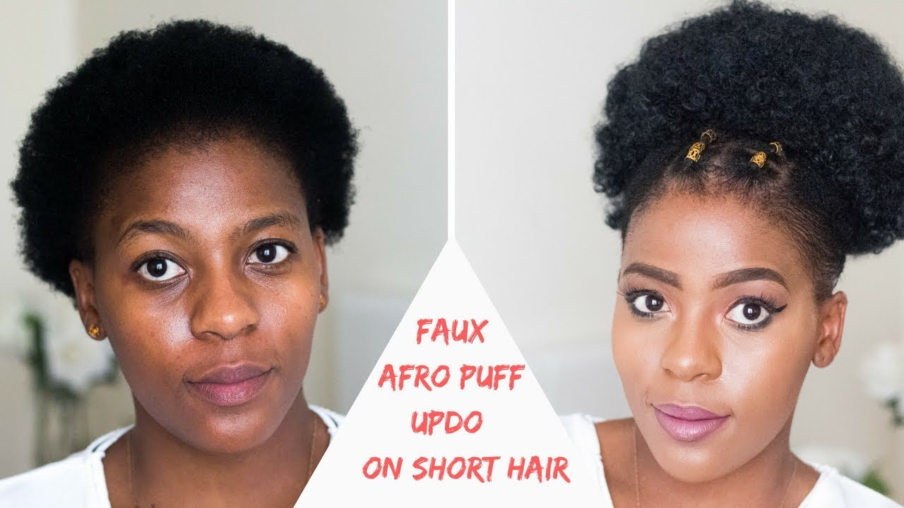 how to | faux afro puff updo on short natural hair | south african hair blogger| miriam maulana