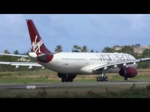 Virgin Atlantic A330 take-off from UVF Airport/Saint Lucia 09.02.2015 Caribbean Islands