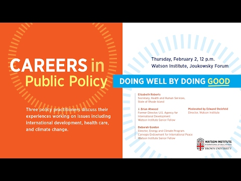 Careers in Public Policy: Doing Well by Doing Good