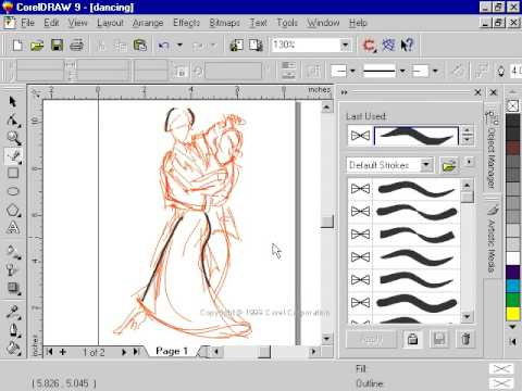 Coreldraw 9 For Pc Freehand Tool And Layers Artistic Media Youtube