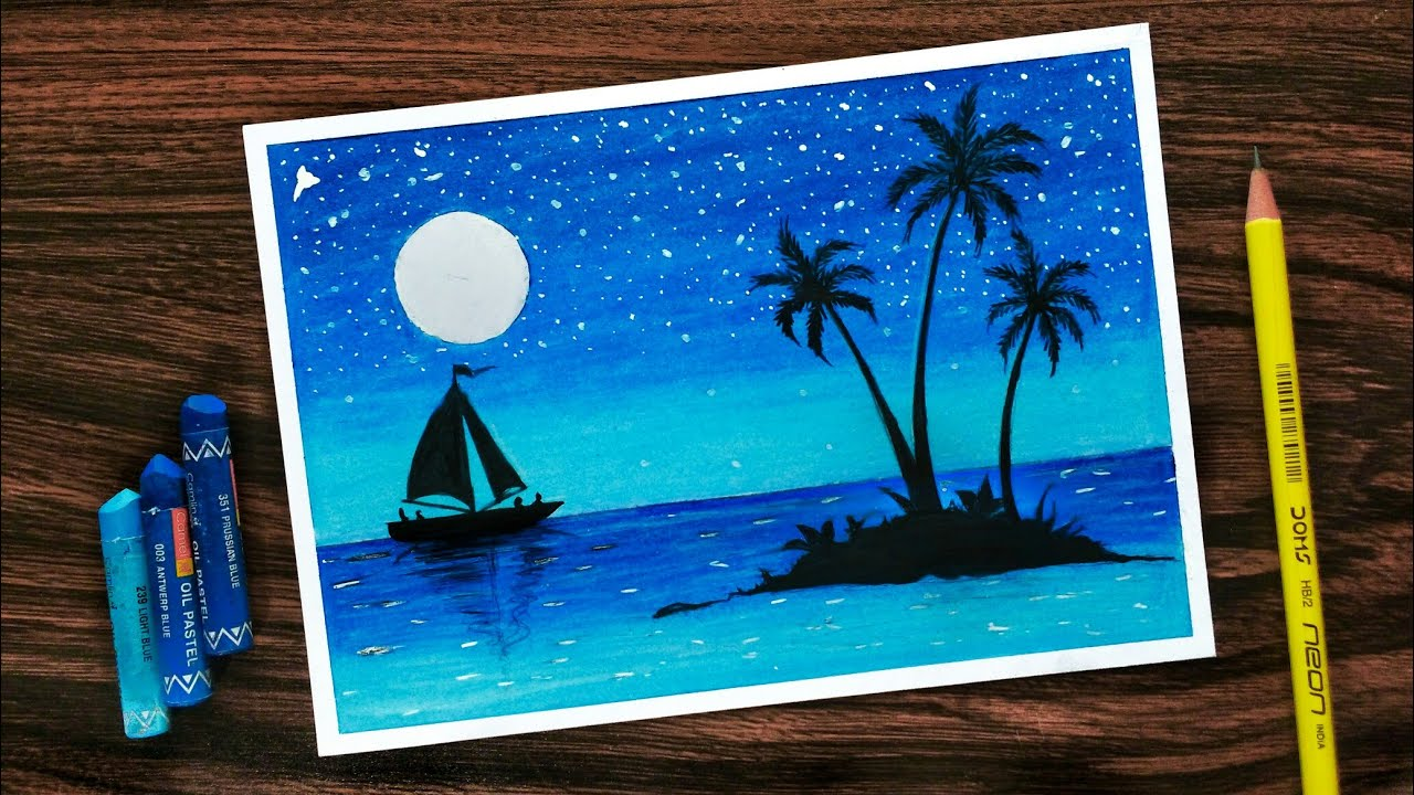 Beautiful Moonlight Scenery Drawing With Oil Pastels