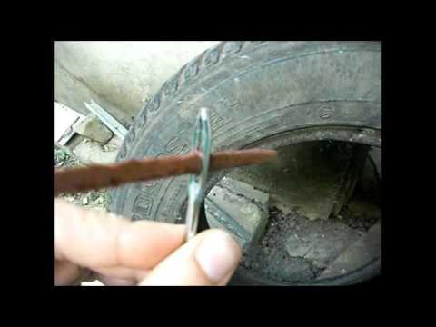 Ремонт бескамерной шины своими руками, жгутом