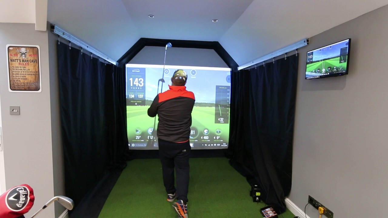 Golf Simulator SkyTrak Installation in