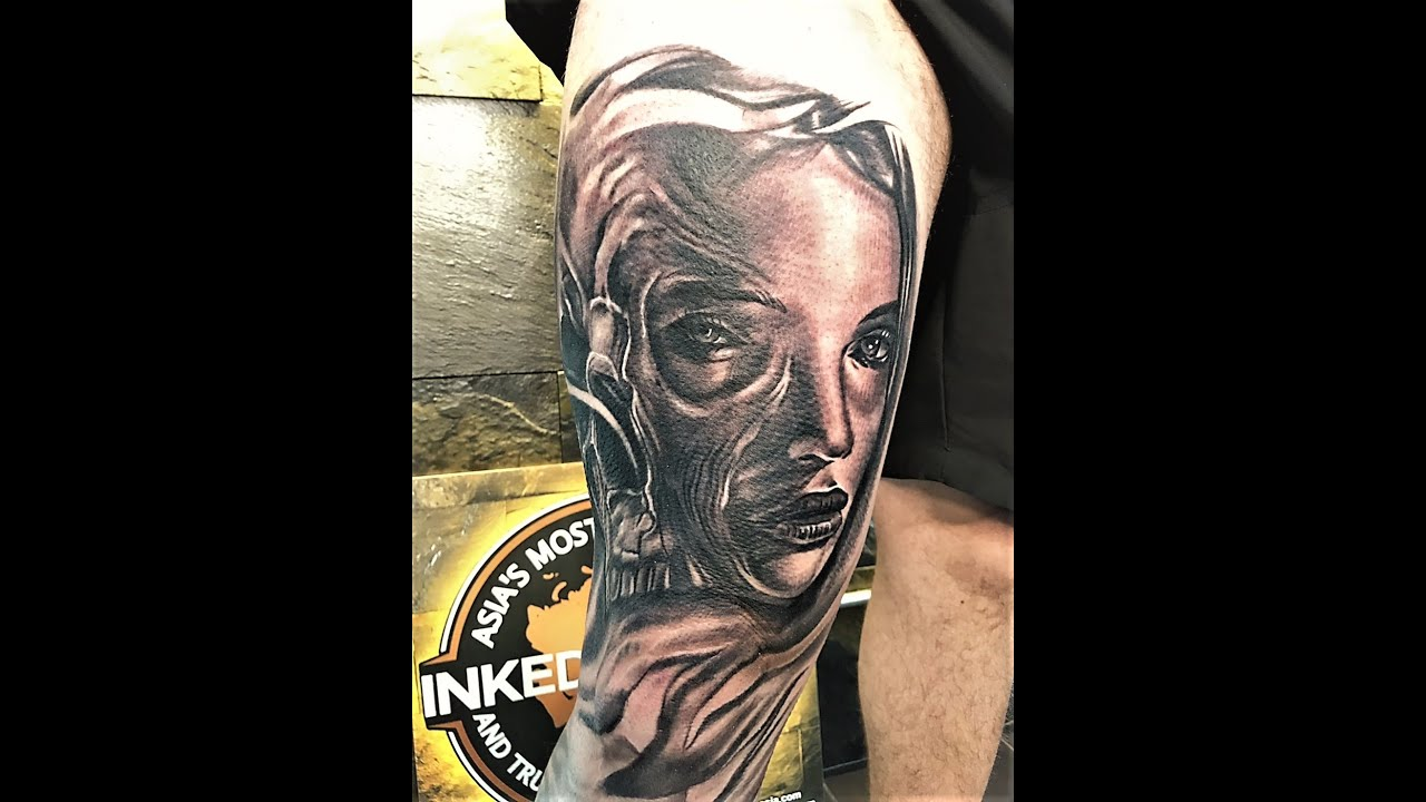 679dead61 Lady Face And Skull Tattoo Mid Way Here At Inked In Asia Tattoo ...