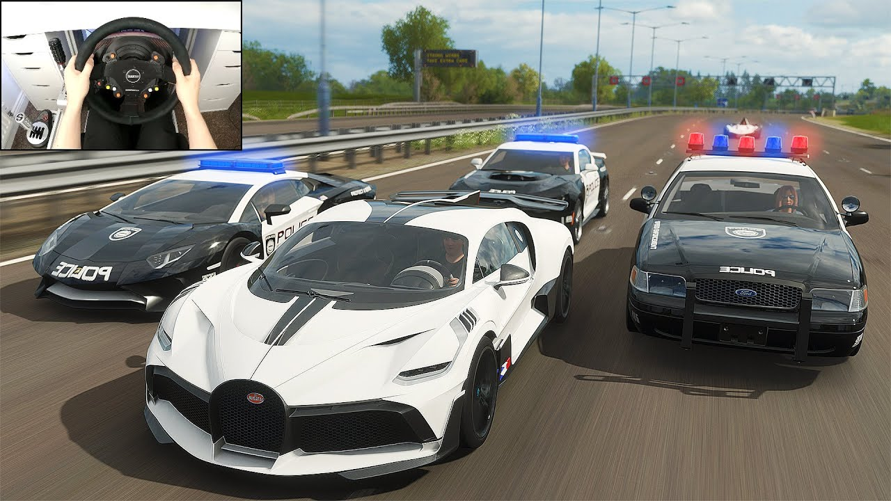 Stealing 1,500bhp Bugatti Divo + Police Chase - Forza Horizon 4 (Steering Wheel + Shifter) Gameplay