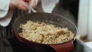 Перловка с грибами и томатами конфит