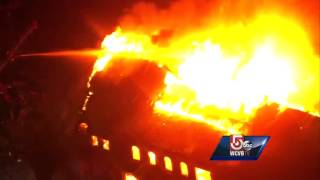 Uncut: Four-alarm fire rips through former paper mill plant