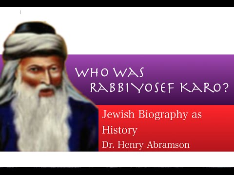 Rabbi Yosef Karo and the Code of Jewish Law Jewish History Lecture Dr. Henry Abramson