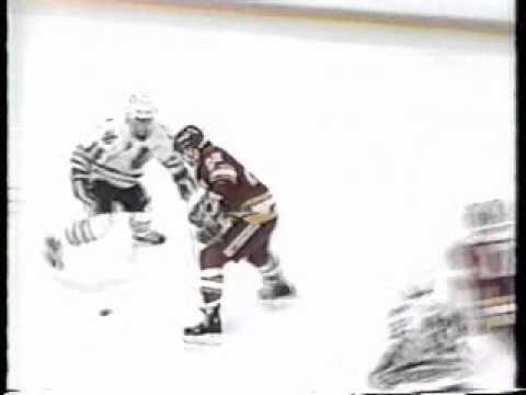 1991-92 - Flames @ Blackhawks - Steve Smith Massive Hit