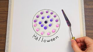 Halloween Night Acrylic Painting on Canvas Step by Step #487 Satisfying ASMR