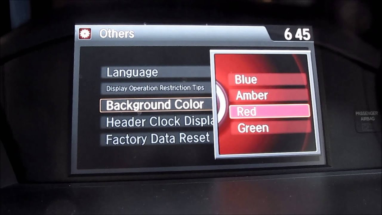 Honda Accord Sport 2013 >> Tutorial: 2013 2014 2015 Honda Accord - Background colors for the i-MID display - YouTube