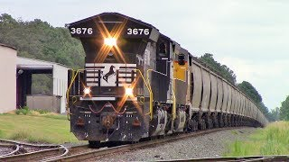 NS 51E LHF NS ET44AC/UP ET44AC with Horn Salutes as Pull an Empty Grain Train back to Selma NC