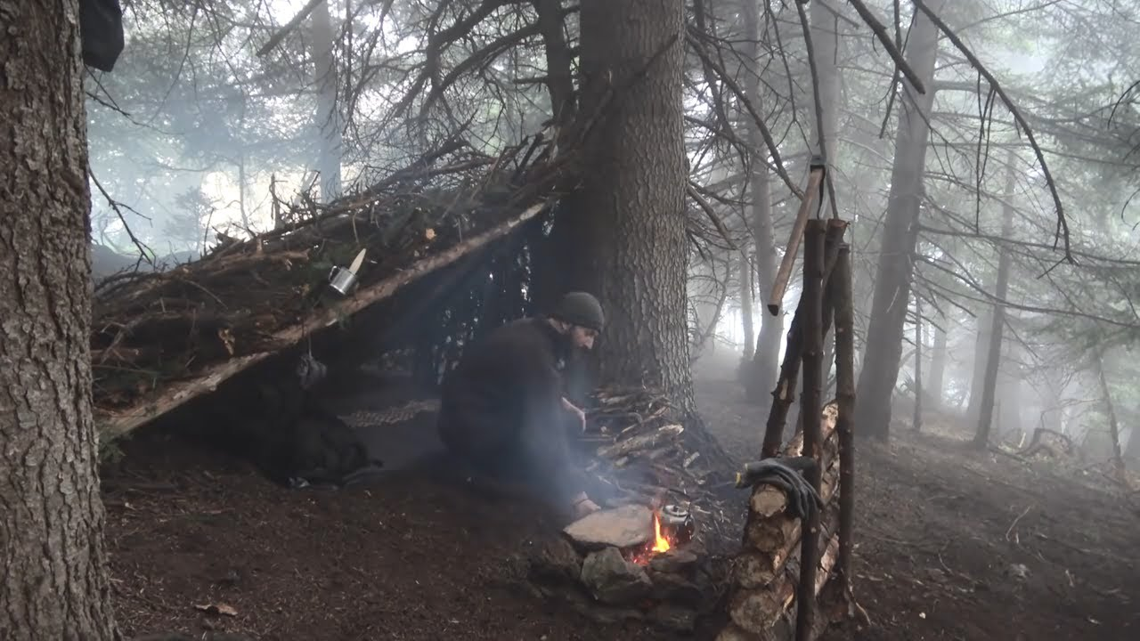 ALONE IN THE WILDERNESS PRIMITIVE BUSHCRAFT. COOKING OVER THE FIRE ON A STONE SLAB A STEAK ETC.