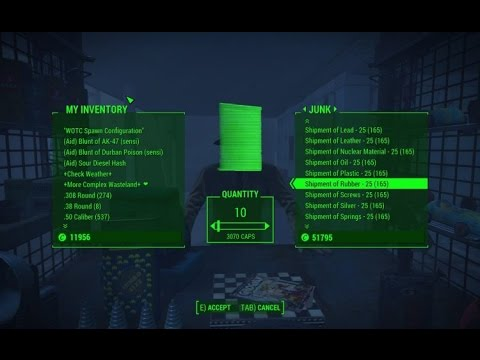 Fallout 4 INFINITE RESOURCES Copper, Screws! Anything that comes in shipments!