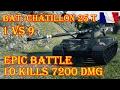 Bat.-Châtillon 25 t   1 VS 9, 10 kills, 7200 Damage  Mountain Pass World of Tanks