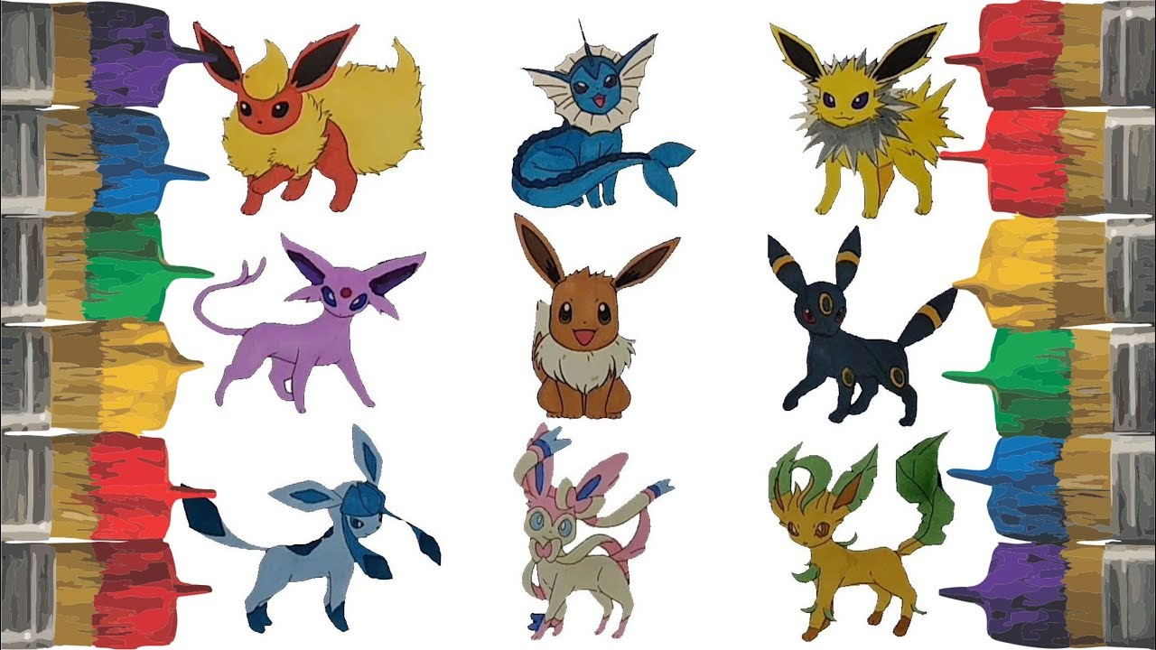 Pokemon coloring pages for kids eevee and evolutions flareon vaporeon jolteon espeon umbreon gl