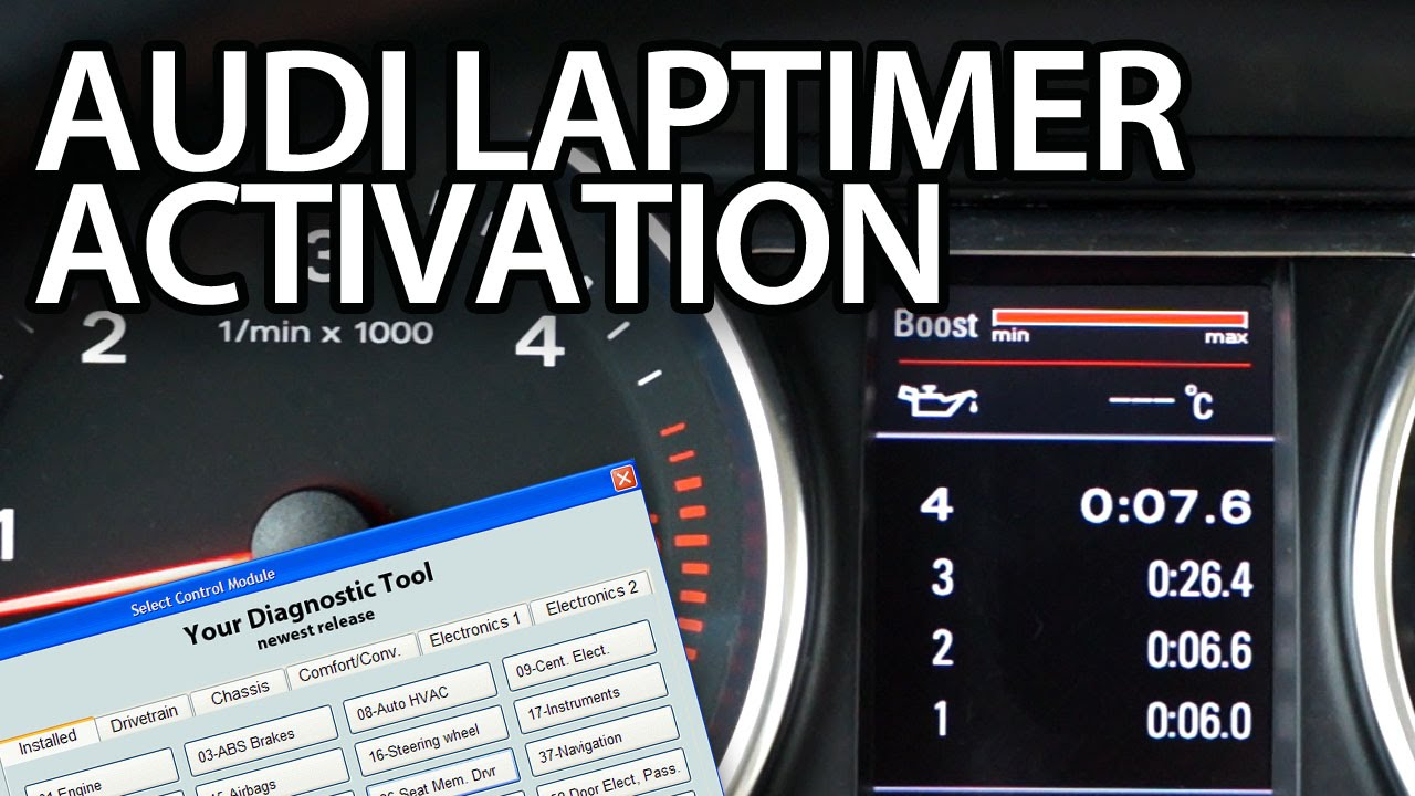 How to activate Audi laptimer, oil temp,  boost gauge (A3 A4 A5 A6 A7 A8 Q3  Q5 Q7) VCDS VAG-COM