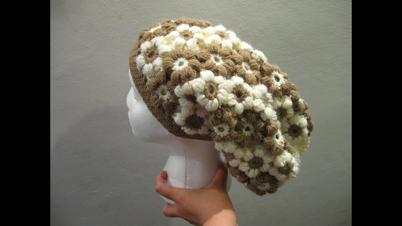 2048d7b1aaf Puff Flower Slouch Hat - Left Handed Crochet Tutorial - YouTube