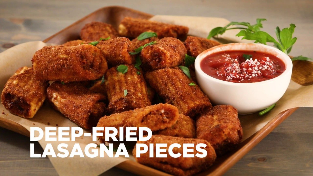 How to Make Deep Fried Lasagna Pieces | Appetizer Recipes ...