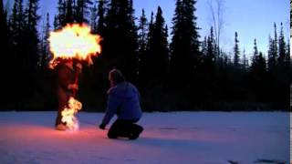 Explosive! Ice turns to fire as ecologists pierce toxic bubbles thumbnail