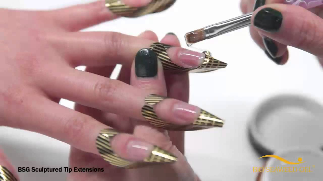 Bio Seaweed Gel Sculptured Tip Extensions - YouTube