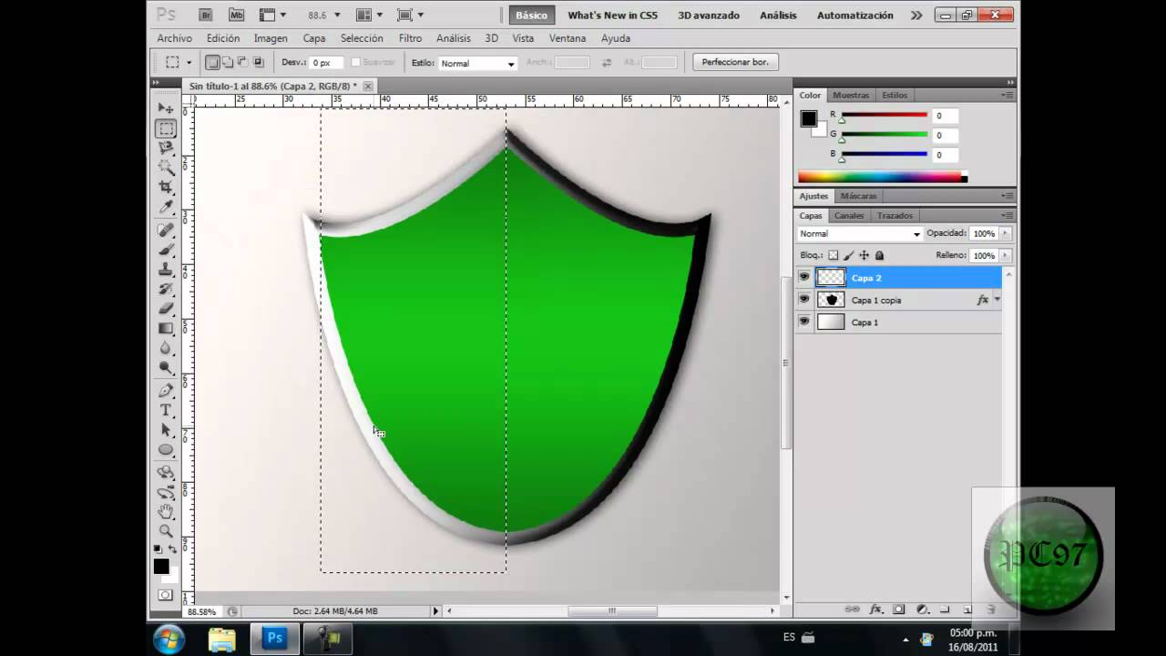 Como hacer escudo en Photoshop CS5 - YouTube