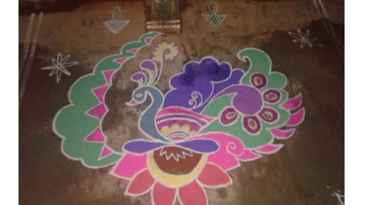 Step by step to draw peacock rangoli - YouTube for How To Draw Peacock Rangoli Step By Step  76uhy