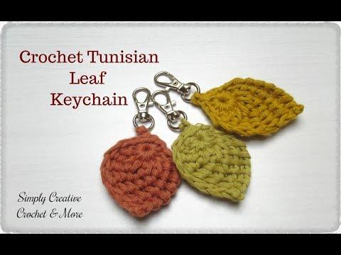 Crochet Tunisian Leaf Keychain | Tunisian Leaf