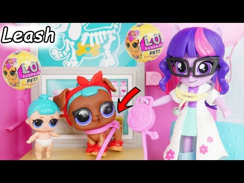 LOL Surprise Dolls Lil Sisters take Pet to the Barbie Vet