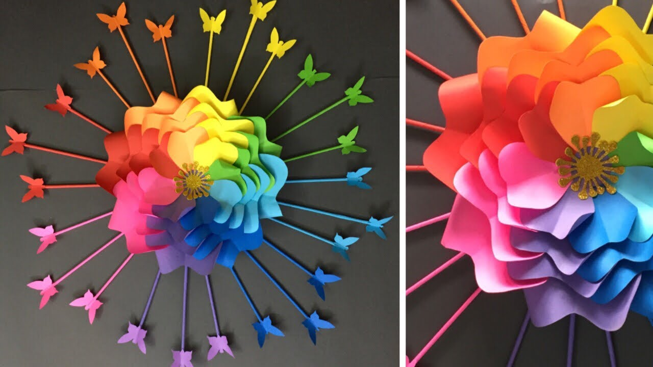 Paper Flowers Wall Hanging Room Decor Ideas Youtube