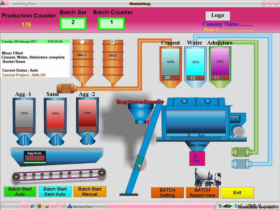 Automatic Batching Plant control Panel - YouTube