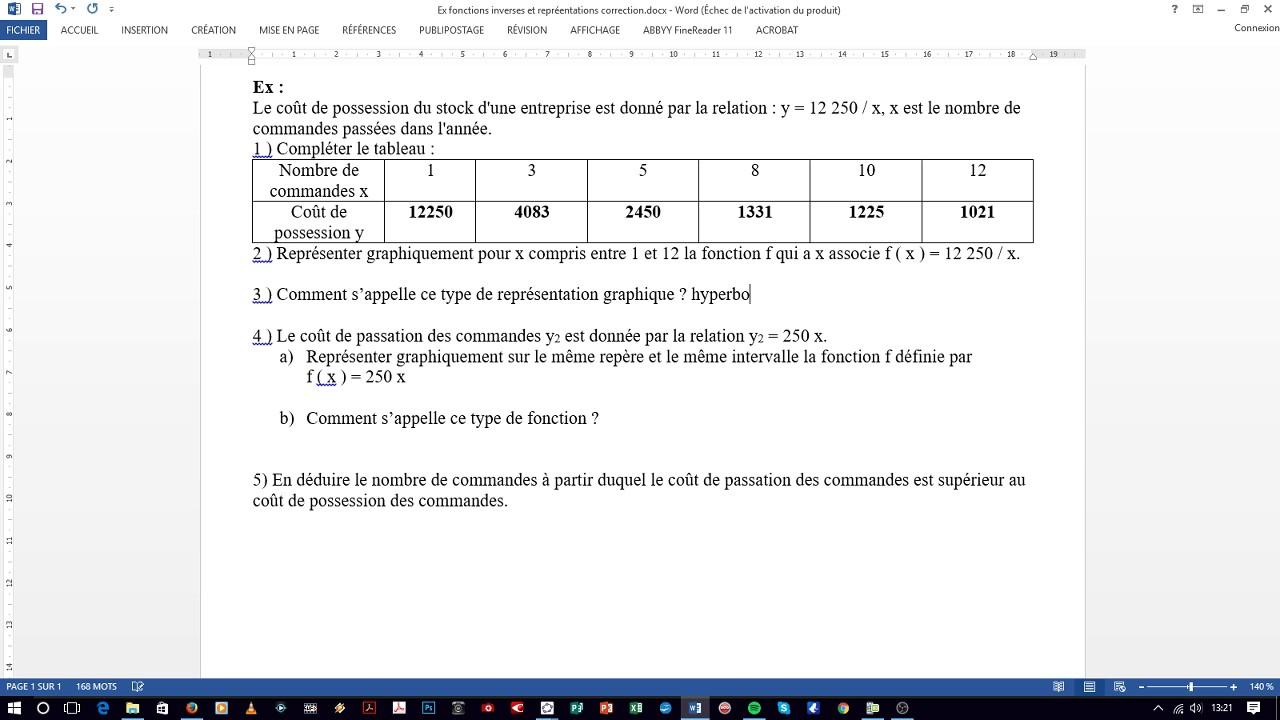 correction exercice - fonctions de référence - 1ière bac ...