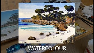 "EASY WATERCOLOR ""Beach with White Sand and Rocks"" Sketch and Painting in Real Time with Commentary"