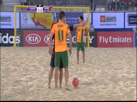 Hazratgul Baran with Afghanistan National beach soccer team VS Australia