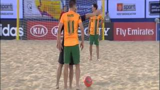 Hazratgul Baran with Afghanistan National beach soccer team VS Australia