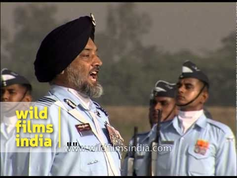 IAF officers take one arm distance before march past
