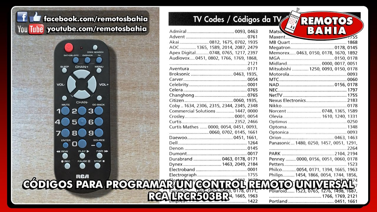 CDIGOS PARA PROGRAMAR UN CONTROL REMOTO UNIVERSAL RCA