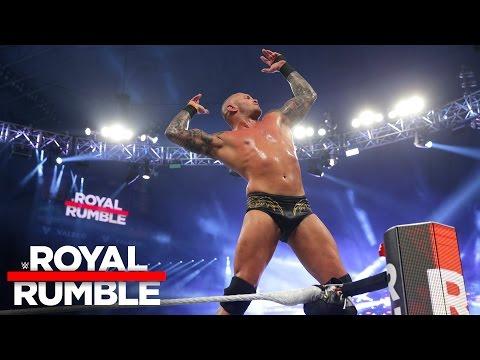 Randy Orton celebrates after winning the...