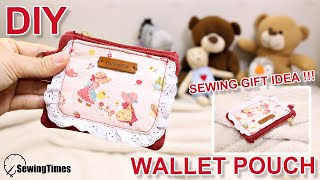 DIY SMALL WALLET POUCH | Sewing Gift Ideas | zipper pouch sewing tutorial [sewingtimes]