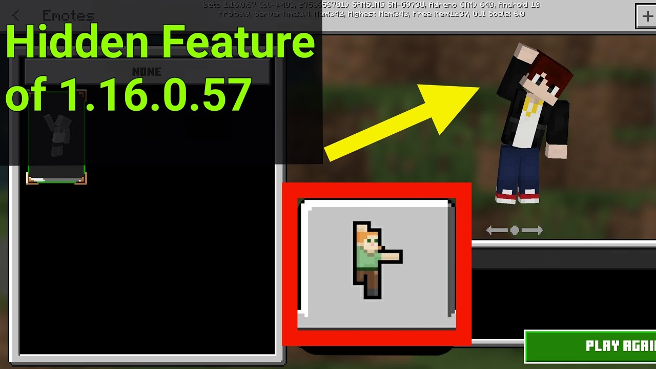 How To Use Emotes In Minecraft Pe 1 16 0 57 Hidden Feature Youtube