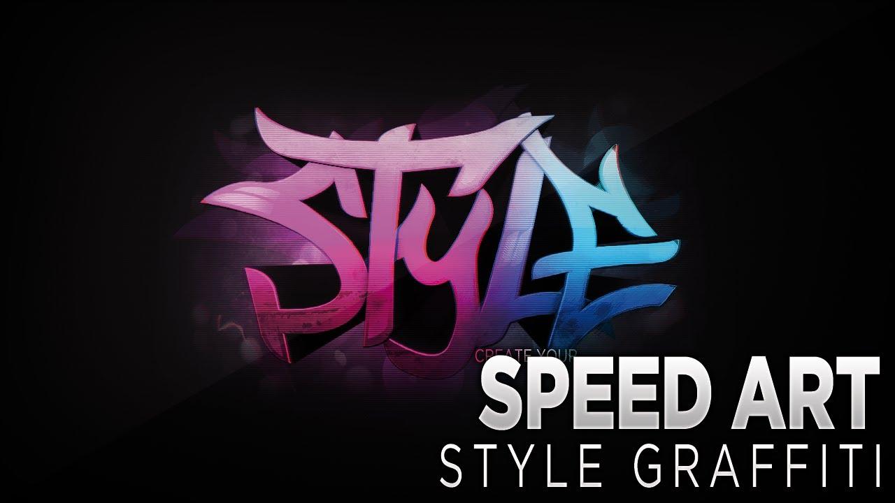 Photoshop CS6 | Speed Art Style graffiti logo. - YouTube