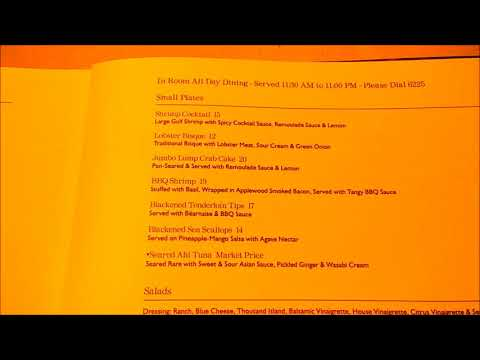 Westshore Grand room menu and why I love Carnival cruise room service