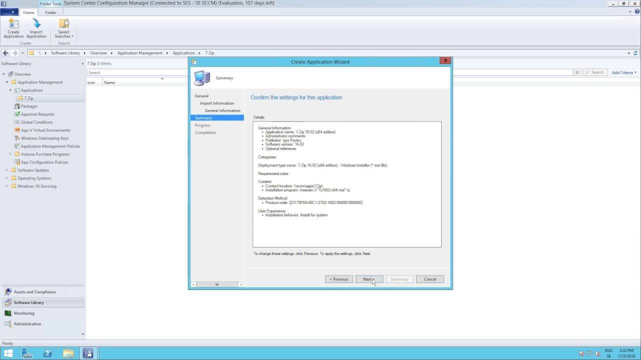 SCCM 2012 R2 1602 - Create and deploy application from MSI package step by  step