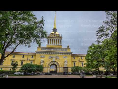 The Admiralty building timelapse hyperlapse. Saint Petersburg, Russia