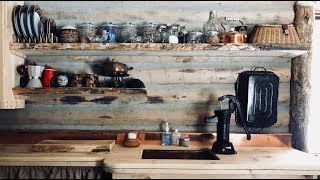 How To Make & Install Floating Shelves In A Tiny House Rustic Kitchen, Diy Log Cabin, Macaroni