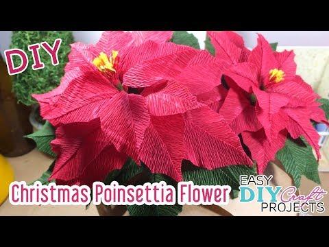 DIY Christmas Poinsettia Flower | How to make Poinsettia Flower for Chistmas Decor