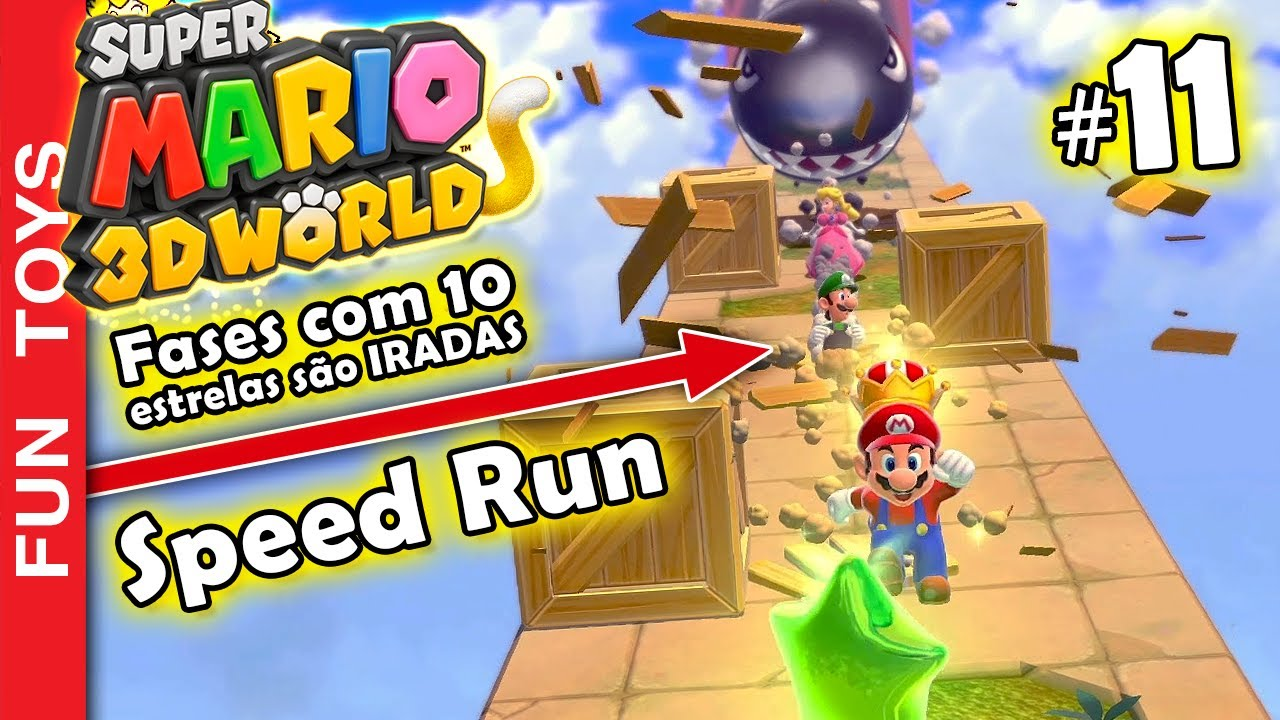 Super Mario 3d World #11 - CHEFÃO do Mundo 5 e uma fase com DEZ ESTRELAS pra pegar no SPEED RUN! 🙀