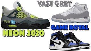 AIR JORDAN 4 NEON AM95 2020, JORDAN 1 GAME ROYAL, JORDAN 11 VAST GREY, JORDAN 3 ANIMAL PACK AND MORE